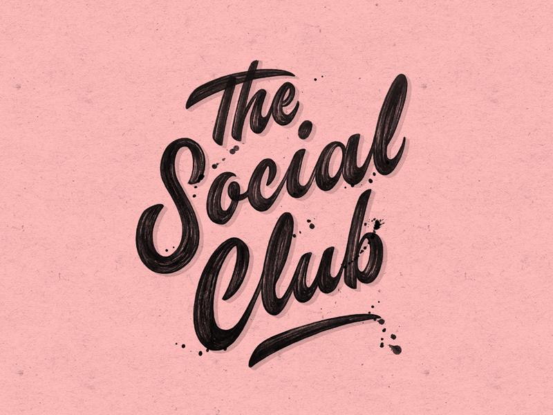 The Social Club pink branding concept print paint calligraphy brush logo typography type lettering handlettering