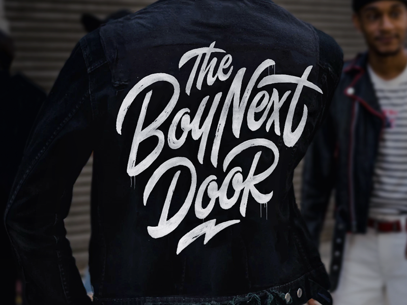 Logo design 'The Boy Next Door' jacket ink logo brush paint typography typo type dj denim lettering handlettering