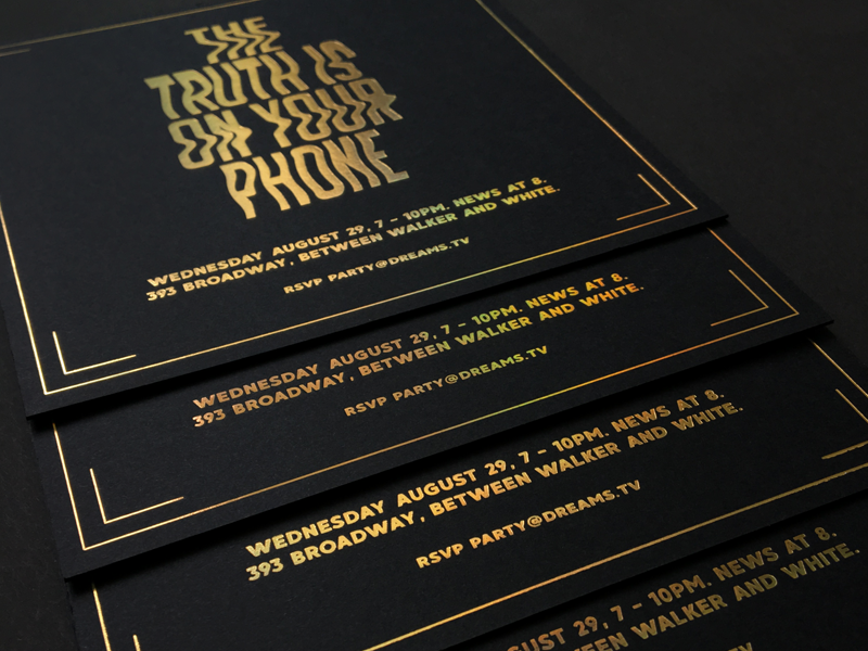 """""""The Truth Is On Your Phone"""" black lettering type graphic design print glitch gold holographic card invite"""