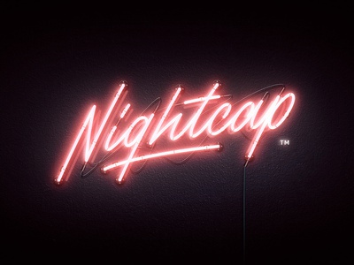 Nightcap neon - red version neon sign neon illustration branding logo brush typography handlettering type lettering