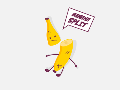 Banana split funny vector illustration banana