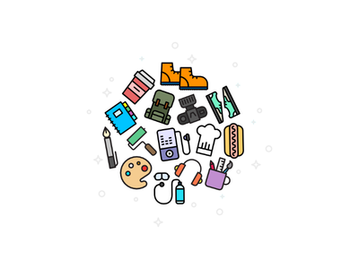 Activities illustration icons activities