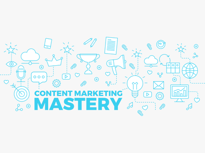 Marketing course header illustration icons