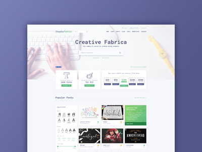 Creative Fabrica redesign bundle fonts website redesign