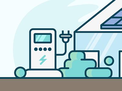EV Station illustration electric cars ev station