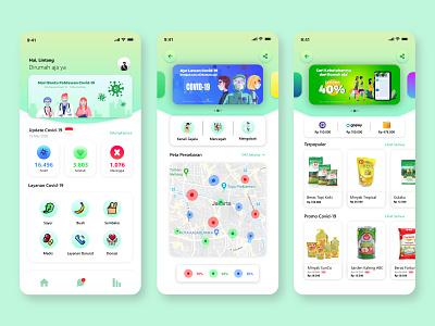 Covid-19 Mobile App flat illustration minimal app ux ui design