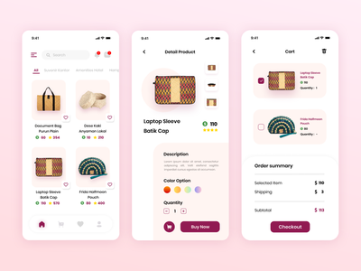 Du Anyam Mobile App ecommerce app ecommerce shop ecommerce productdesign product indonesiaproduct culture pink indonesia du anyam uiux uidesign mobile app mobile ui graphicdesign ux ui minimal app design