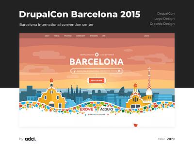 DrupalCon Barcelona 2015 conference branding and identity branding drupalcon logotype design logo idenyty case ui logo design design drupal development adci