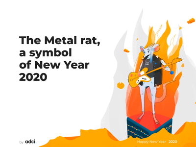 The Metal rat,  a symbol  of New Year  2020 new year vector new year symbol illustration adci 2020