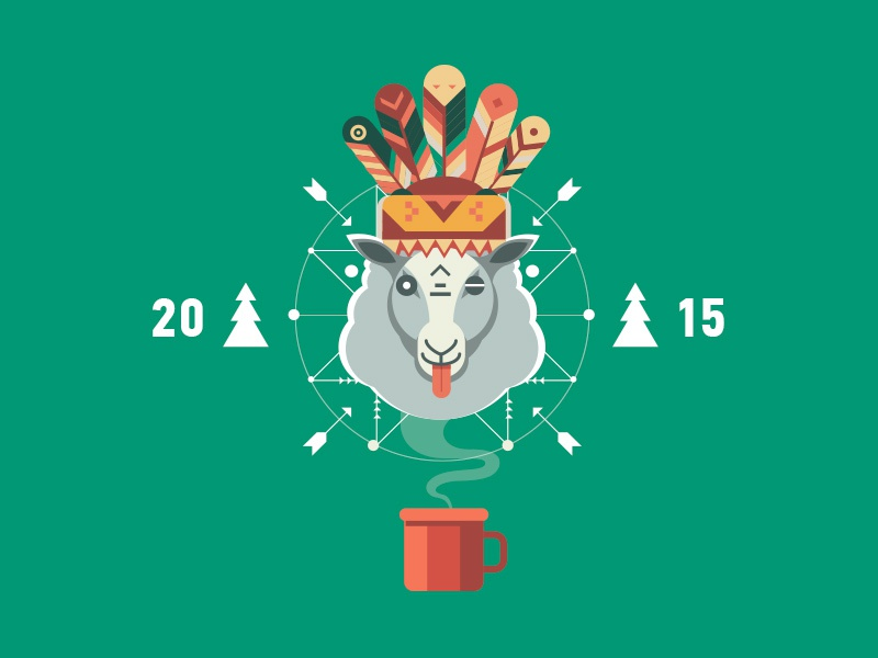 HAPPY NY! happy new year flat illustration sheep 2015