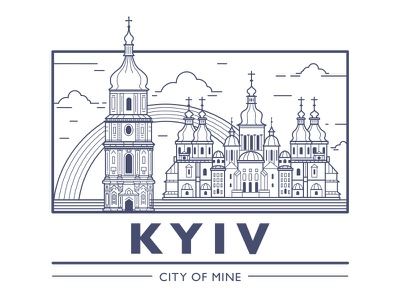Kyiv city of mine kyiv city building church line art flat simple ukraine
