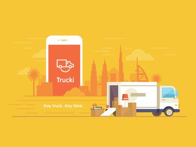Trucki city box dubai iphone logo illustration flat delivery cargo truck