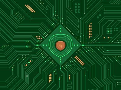Logic Board processor core tech glow illustration flat digital motherboard energy nut