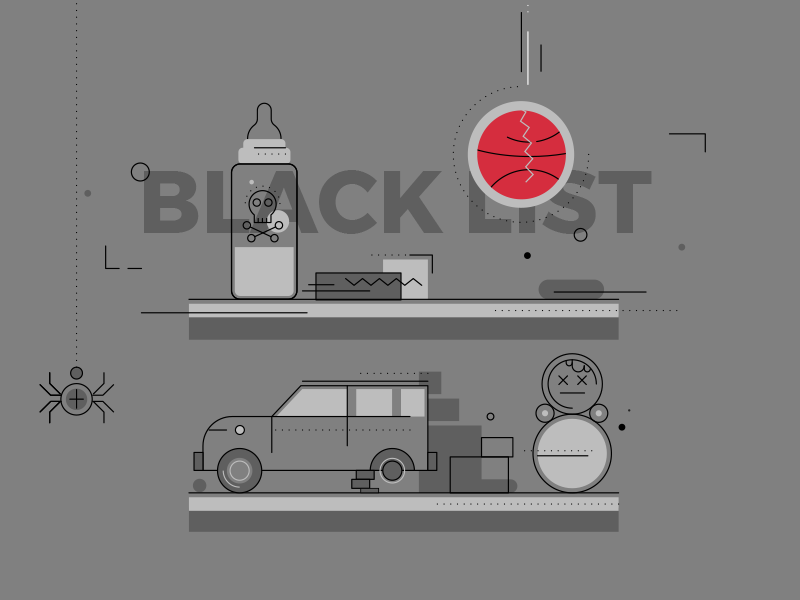 Black List poison bottle car ball spider line childish toy illustration flat blacklist