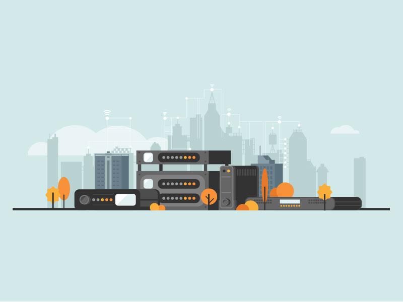 Advanced Digital network cloud tree buildings city server broadcast digital illustration flat