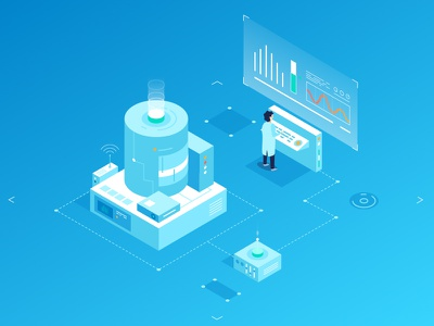 Control & Automation engineer tech tracking digital iot vector illustration isometric