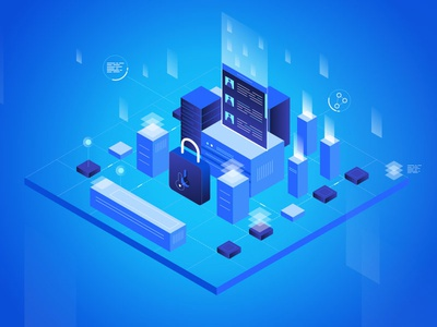 Data city gradient digital block chain data center data city isometric illustraiton