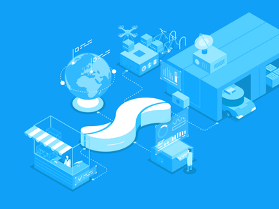 Shopwave curves vector box truck globe bicycle automation retail simple isometric illustation