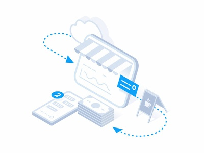Omni-Channel Toolkit cloud automation retail shop money phone vector isometric illustration
