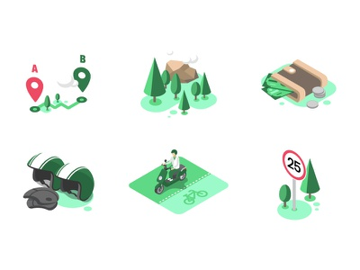 Scooter sharing icons geo location tree wallet helmet bike road character vector illustration isometric
