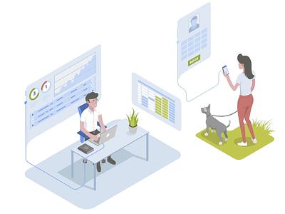 Booking Times ui json lottie character laptop desk dog man woman interface flat illustration animation isometric