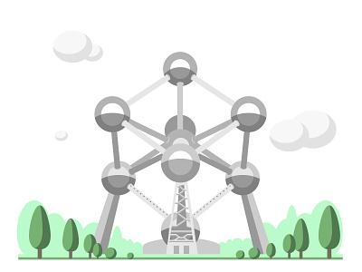 Atomium building city architecture minimalistic illustration flat belgium brussels