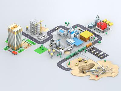 """""""Kovalska"""" developer scene 3d building truck mine infographic isometric cinema 4d c4d illustration factory"""