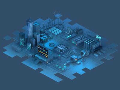 The Internet of Things charts factory truck conveyor octane cinema4d c4d city animation isometric iot