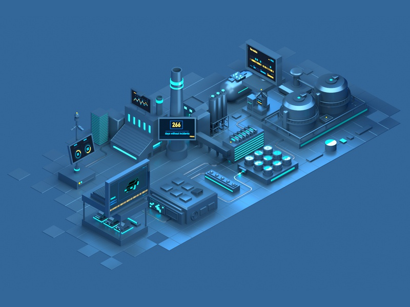 IOT2 photoshop illustrator techno future connection data digital octane c4d cinema4d 3d illustration isometric
