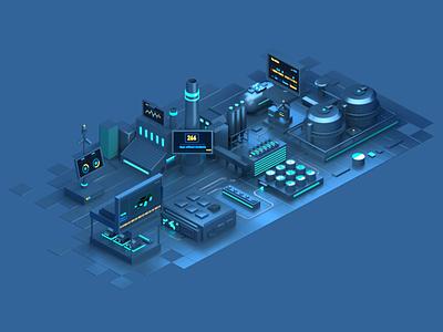 IOT 2 Animation city internet internetofthings data lights digital octane cinema4d c4d design isometric animation illustration