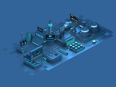 IOT 2 Animation city internet internetofthings data lights digital octane cinema4d c4d design isometric animation illustration