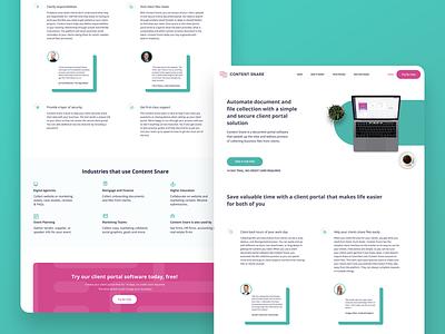 Content Snare Client Portal Page website ux ui landing page web design client page