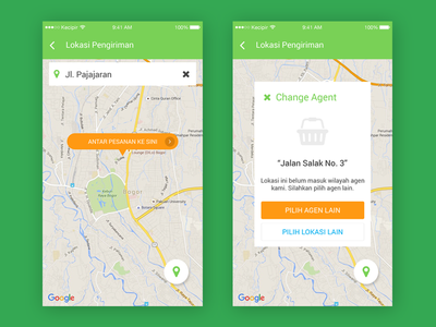 E-commerce Mobile App Concept - Order & Change Agent delivery indonesia agent location maps order service vegetable local fruit farmer e-commerce
