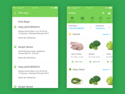 E-commerce Mobile App Concept - Change Agent & Order vegetable service order maps location local indonesia fruit farmer e-commerce delivery agent