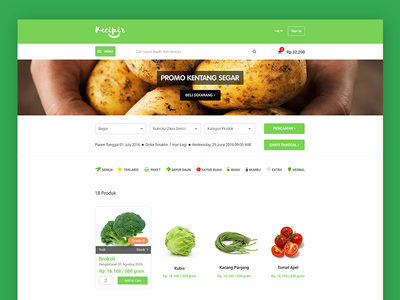 E-commerce Website Concept - Product Page vegetable service order maps location local indonesia fruit farmer e-commerce delivery agent