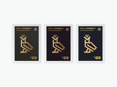Hello Dribbble!!! stamp hello dribbble first shot first hello illustration gold dribbble