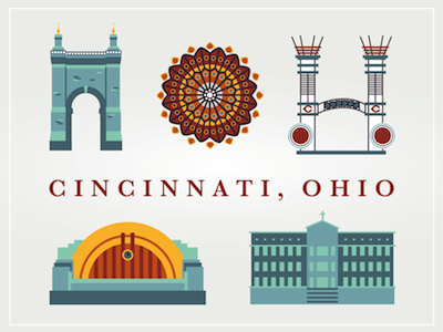 Cincinnati Landmarks cincinnati landmark icon map building illustration