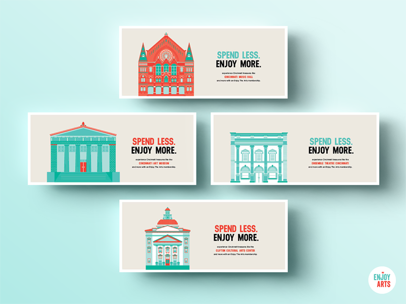 Enjoy The Arts Illustrated Postcards illustration icon postcard architecture cincinnati turquoise red nonprofit cultural arts