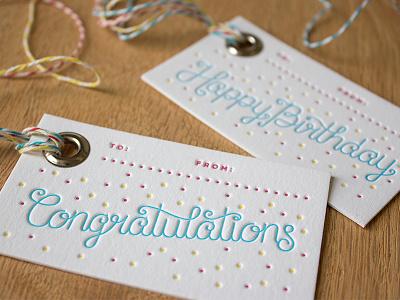 Letterpress Gift Tags! confetti monoline letterpress lettering present tag gift happy birthday congratulations