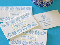 pied-a-mer letterpress business cards