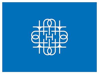 """H"" Seal maze interlocking geometric monoline blue knot h seal logo"