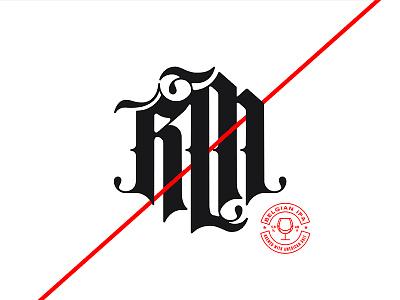 RM Blackletter Mark lettering slash diagonal beer red white black monogram identity logo blackletter