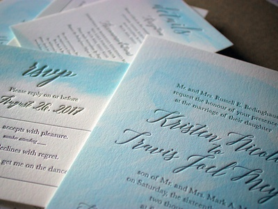 Watercolored Letterpress Wedding Invites