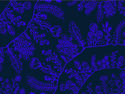 Hand-Drawn Floral Surface Pattern rose flower bud blossom fern illustrated hand-drawn illustration blue flowers floral