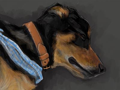 Sleeping Doggy basset hound collar bandana sleeping doggy puppy drawing sketch portrait dog