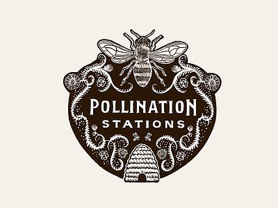 Pollination Stations honeybee illustration hand-drawn woodcut pollination logo flower vine skep honey bee