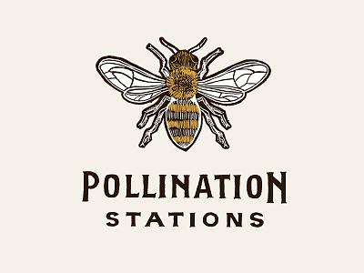 Pollination Stations (Secondary) yellow brown mustard woodcut pollination logo illustration honeybee honey hand-drawn flower bee