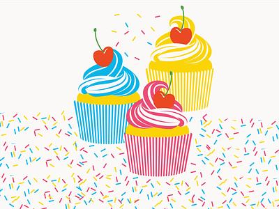 Cupcakes! design bright cmyk sprinkles frosting cherry dessert geometric vector illustration cupcakes cupcake
