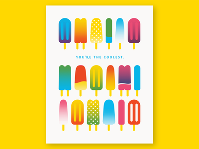 Popsicles Card rainbow pattern icon illustration snack treat popsicles dessert popsicle overprint layer cmyk halftone gradient card