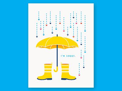 Condolence Umbrella condolence sorry geometric greeting card card icon illustration halftone yellow bootstrap rain boots rain umbrella